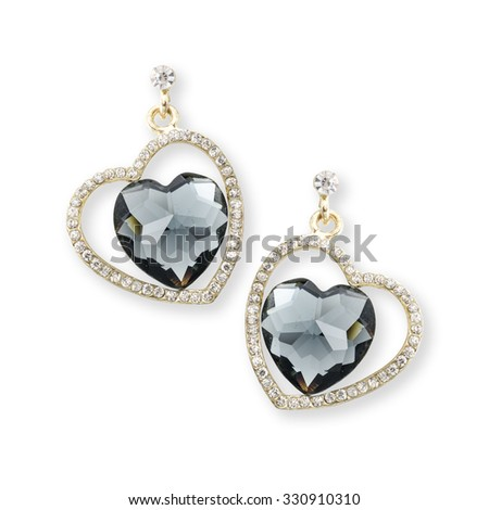 gold earrings hearts isolated on white