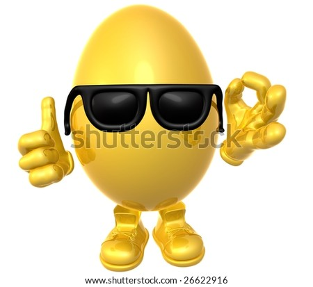Gold easter egg icon illustration - stock photo