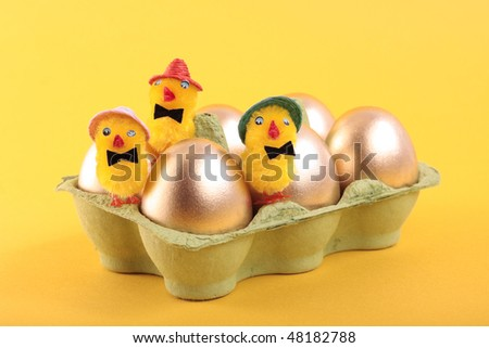 Gold Easter eggs and chicks in carton isolated over yellow