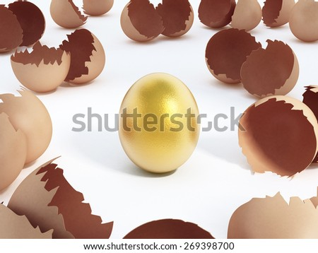 Gold egg at the center of cracked regular ones isolated on white background