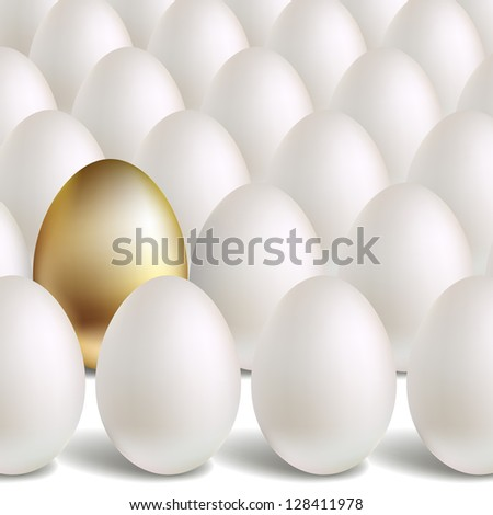 Gold Egg Concept. White and unique golden eggs - stock photo