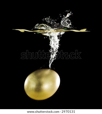 gold egg under water