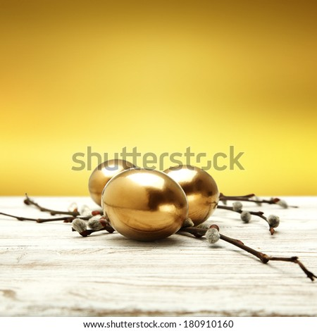 gold eggs and gold space for text  - stock photo