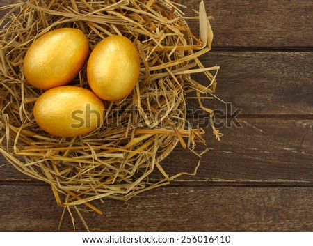 gold eggs in nest on wood background ,business concept - stock photo