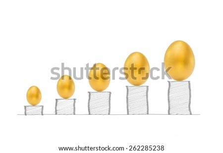 Gold eggs on higher rising graph bar stacks: A golden egg opportunity concept of fortune and a chance to be rich: ROI Return of investment creative conceptual idea: Business profitable growth - stock photo