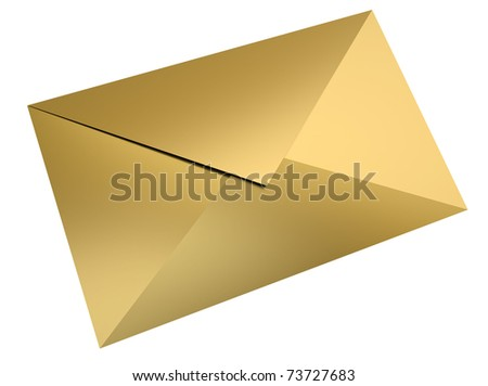Gold envelope over white background. 3D render.