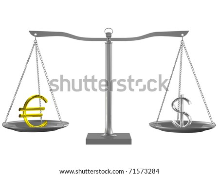 Gold Euro and Silver Dollar on Silver balance on white isolated background - stock photo