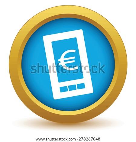 Gold euro phone icon on a white background - stock photo