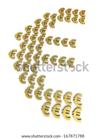 Gold euro signs scattered (isolated on white and clipping path)