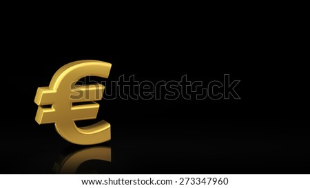 Gold Euro symbol on black background with reflection and copyspace. Good for finance slide with text - stock photo