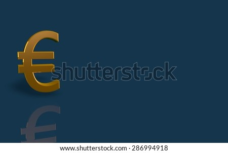 Gold Euro symbol on blue background.
