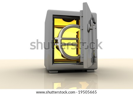 Gold Euro Symbol Showing In A Safe