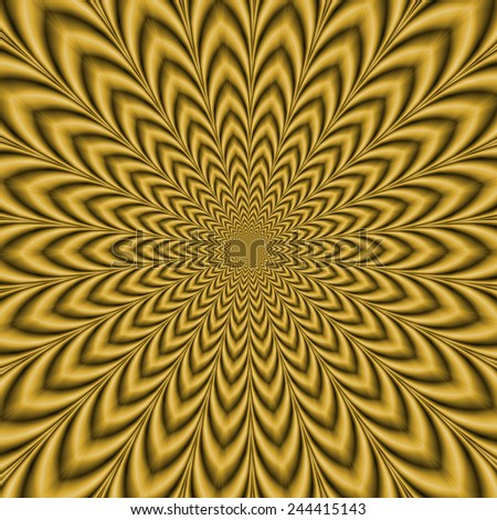 Gold Explosion / An optically challenging fractal image with an exploding geometric design in gold.