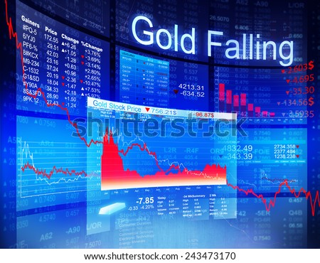 Gold Falling Economic Global Business Investment Concept - stock photo