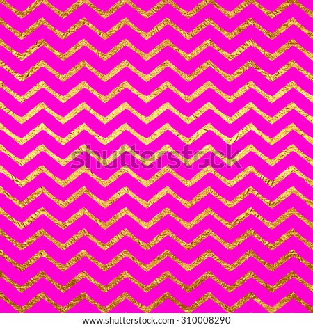 Gold Faux Foil Metallic Chevrons Hot Pink Magenta Background Pattern Texture - stock photo