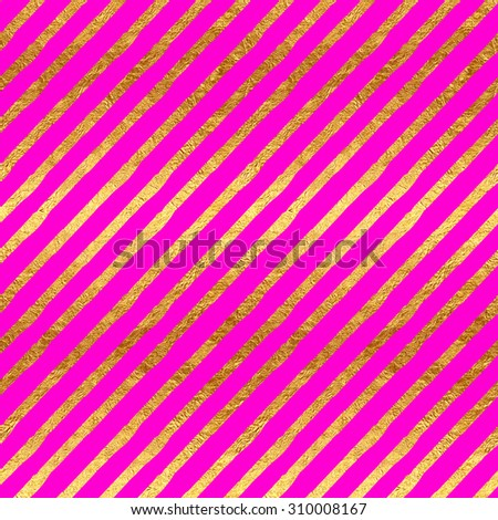 Gold Faux Foil Metallic Stripes Hot Pink Magenta Background Pattern Texture