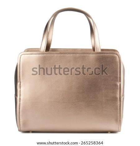 Gold female handbag isolated on white. - stock photo