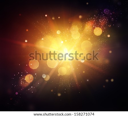 Gold Festive Christmas Background. Golden Abstract Holiday Backdrop with Lights and Stars. Bokeh Background - stock photo