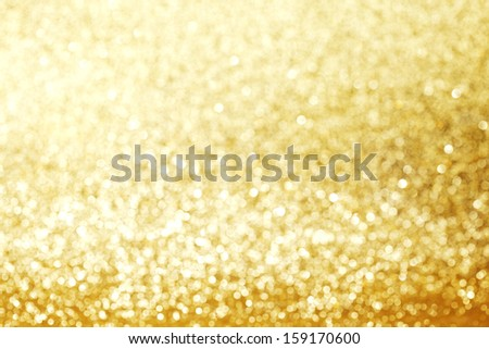 Gold Festive Christmas background with glitters - stock photo