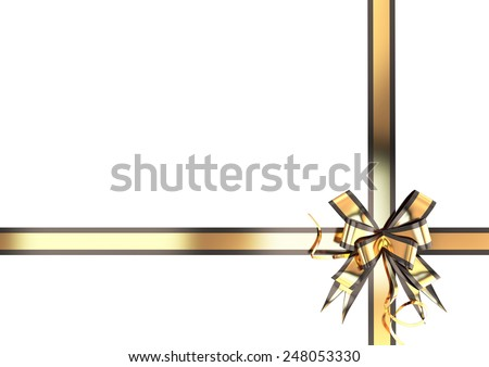 Gold festive ribbon with a black border for your design - stock photo