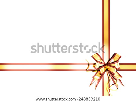 Gold festive ribbon with a red border for your design. - stock photo
