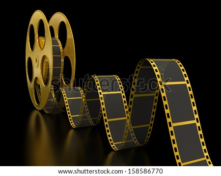 Gold Film Strip on black - stock photo