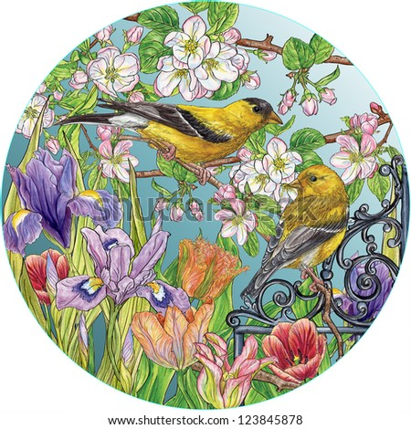 Gold finch & tulips - stock photo