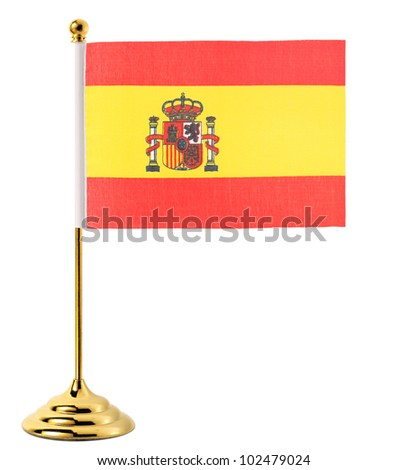 Gold flagpole hanging the flag of Spain,Isolated on the white background - stock photo
