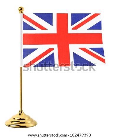 Gold flagpole hanging the flag of UK,Isolated on the white background - stock photo