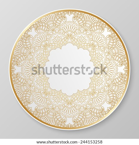 Gold floral ornament for decorative plate. Raster version. - stock photo