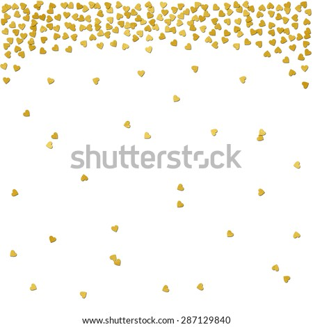 Gold foil confetti hearts border