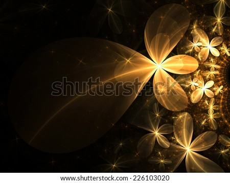 Gold fractal flowers, digital artwork for creative graphic design - stock photo