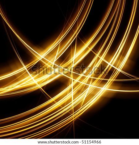 Gold fractal sparkle on black - stock photo