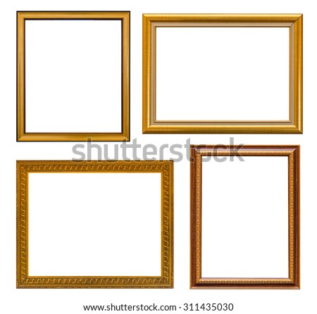 Gold frame Elegant vintage Isolated on white background. - stock photo