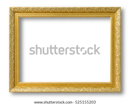 gold frame for painting or picture on white background gold frame photo isolated