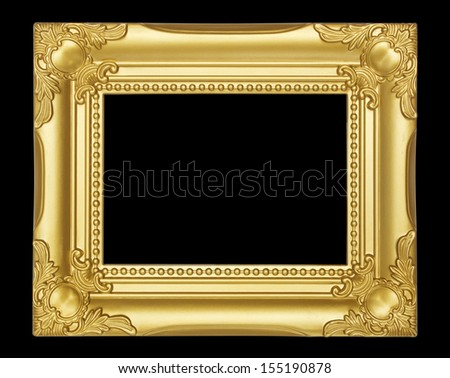 Gold  frame isolated on black background - stock photo