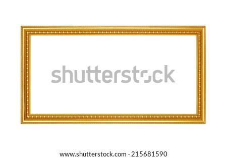 Gold frame isolated on white - stock photo