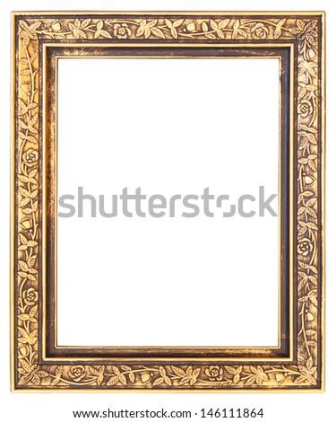 Gold frame isolated on white background - stock photo