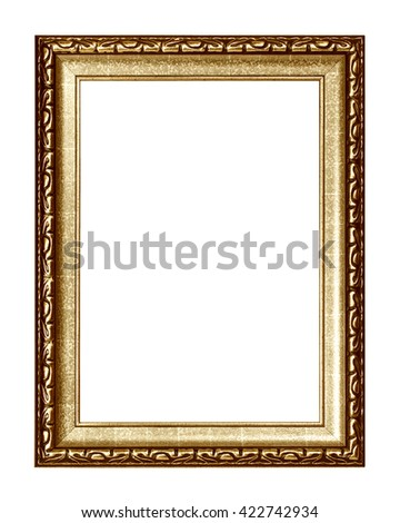 Gold frame isolated on white background