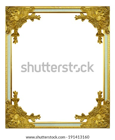 Gold frame on the white background - stock photo