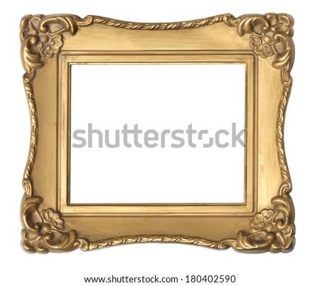 Gold frame on white  - stock photo
