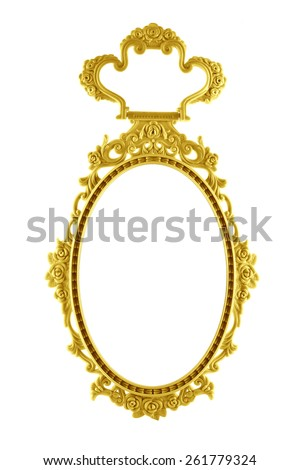 Gold Frame oval mirror circle isolated on white background.