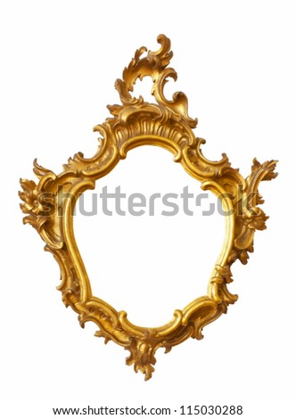 Gold frame unusual shape. Isolated over white background
