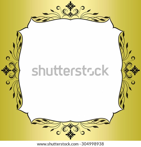 Gold frame with floral pattern. - stock photo