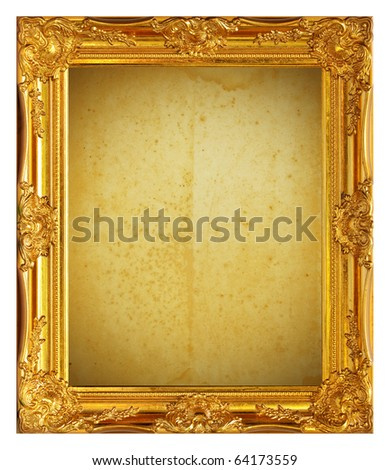 Gold frame with old paper background - stock photo