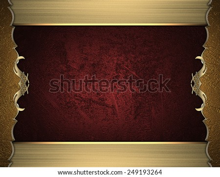 Gold frame with pattern on red background. Design template. Design for site - stock photo