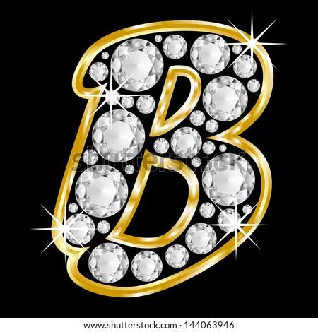 M Letter In Black Diamonds Gold Framed Alp...