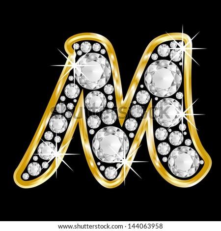 M Alphabet In Diamond Gold framed alphabet letter M filled with diamonds on black background ...