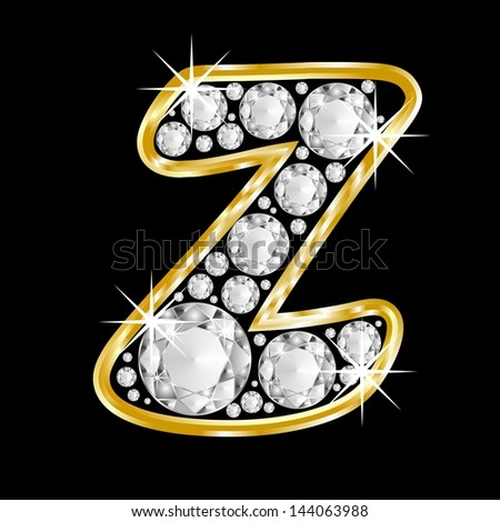 Z Alphabet In Diamond Gold framed alphabet letter Z
