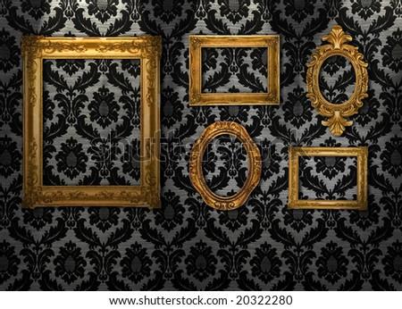 Gold frames, retro wallpaper, similar available in my portfolio - stock photo